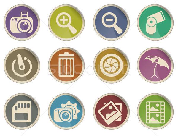 Fotózás sziluett ikonok címke háló felhasználó Stock fotó © ayaxmr