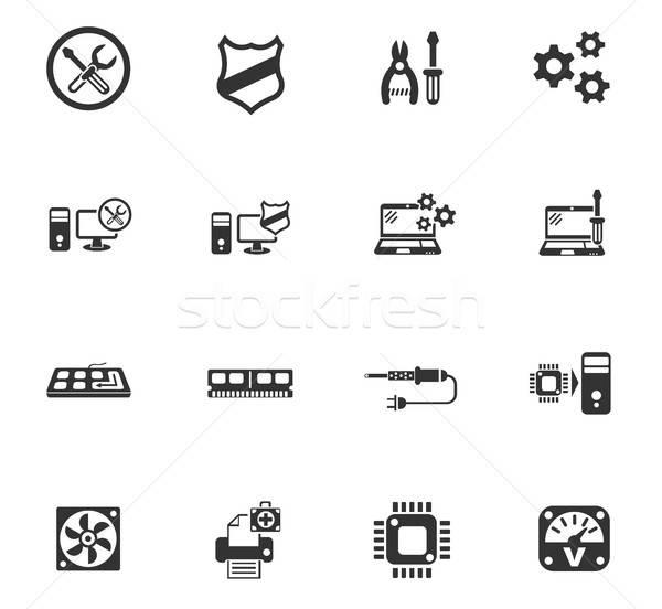 Reparação de computadores os ícones do web usuário interface projeto Foto stock © ayaxmr