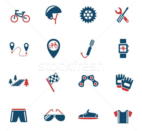 Stock fotó: Bicikli · ikon · gyűjtemény · webes · ikonok · felhasználó · interfész · terv