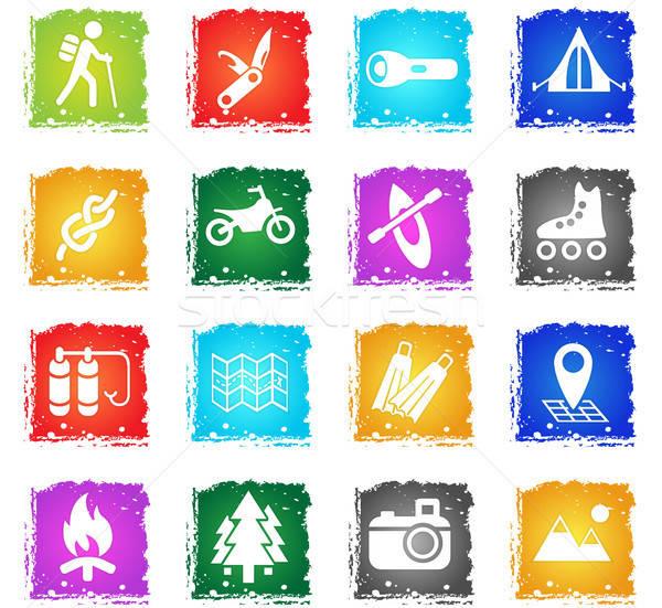 Attivo ricreazione semplicemente icone grunge Foto d'archivio © ayaxmr