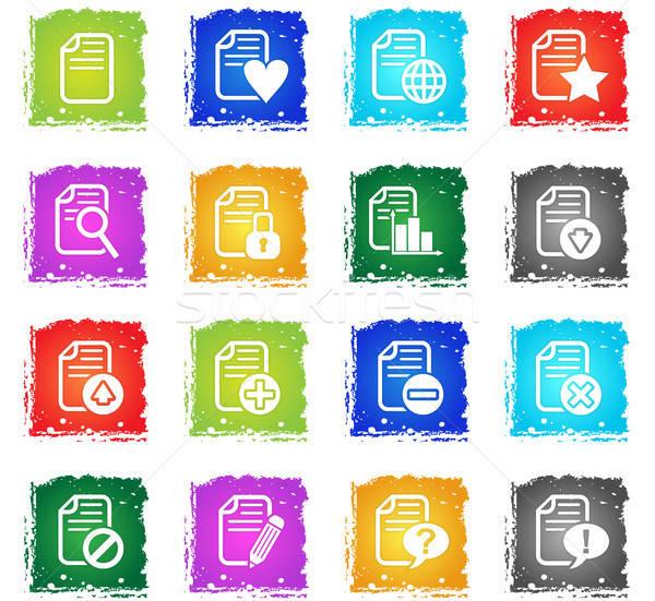 document icon set Stock photo © ayaxmr