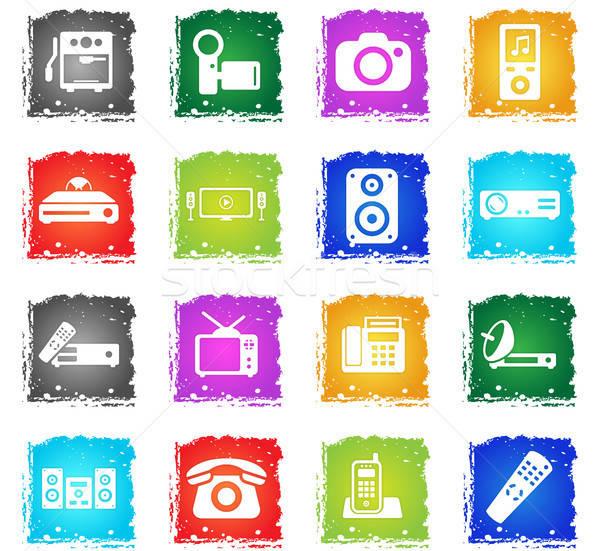 Otthon egyszerűen ikonok szimbólumok grunge stílus Stock fotó © ayaxmr