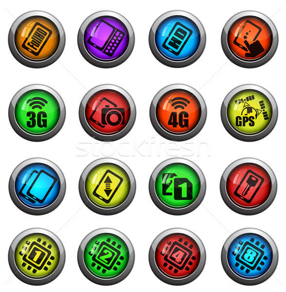 Smarthone specs icons set Stock photo © ayaxmr