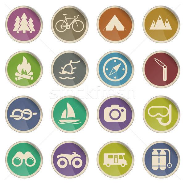 Actief ontspanning label iconen web Stockfoto © ayaxmr