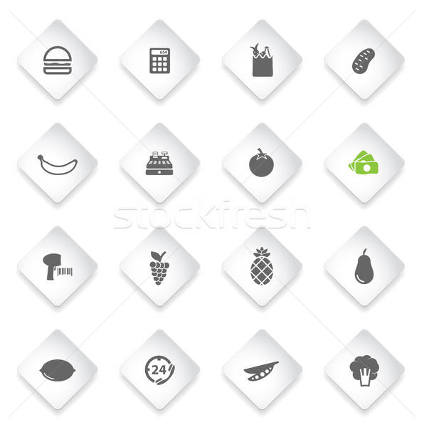 Grocery simply icons Stock photo © ayaxmr