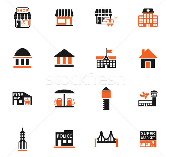 infrastructure icon set Stock photo © ayaxmr