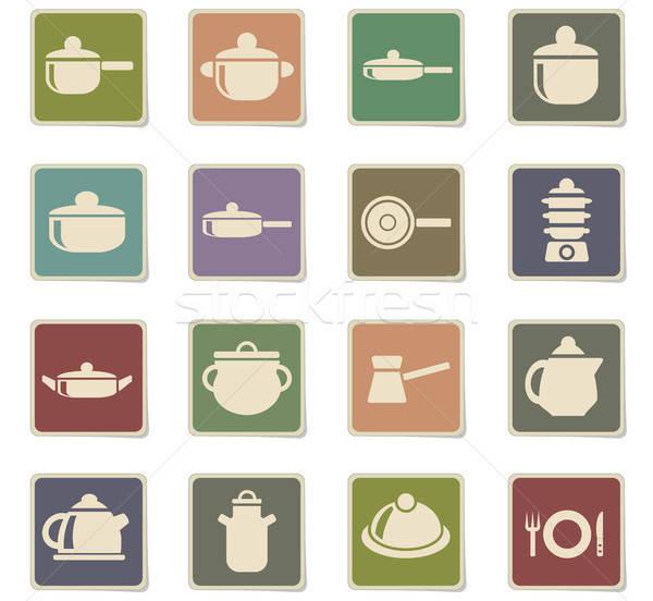 dishes icon set Stock photo © ayaxmr