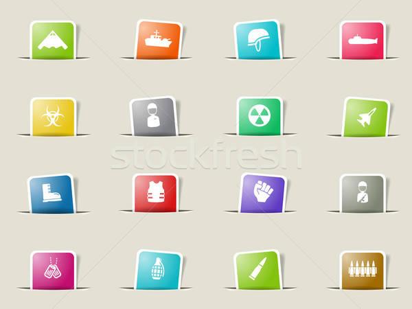 Katonaság egyszerűen ikonok ikon szett háló felhasználó Stock fotó © ayaxmr