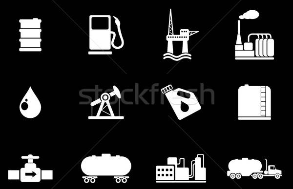нефть бензин промышленности объекты иконки просто Сток-фото © ayaxmr