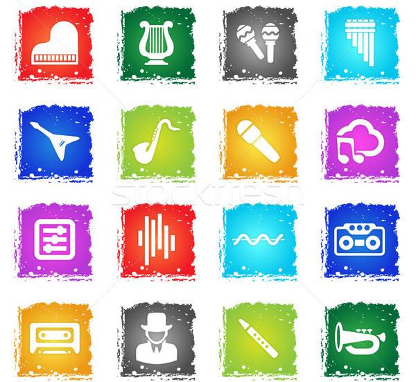 Foto stock: Música · vetor · os · ícones · do · web · grunge · estilo