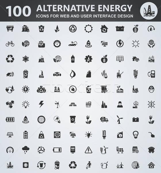 Alternative energy icons set Stock photo © ayaxmr
