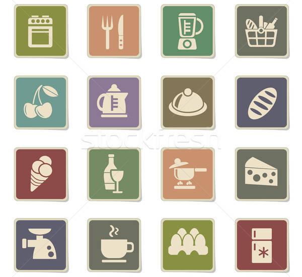 Stock photo: food and kitchen icon set