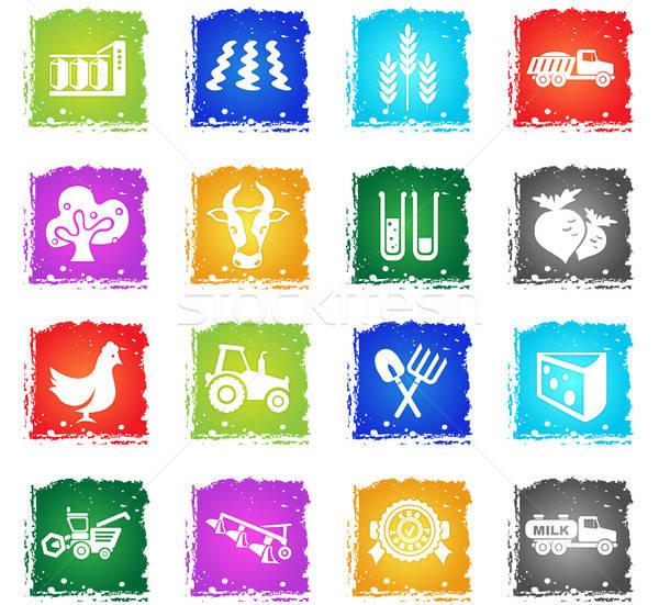 Agrícola iconos grunge estilo usuario Foto stock © ayaxmr