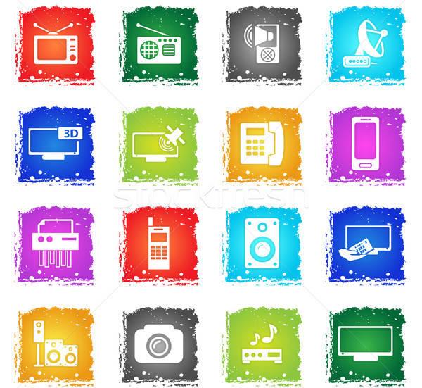 Vetor os ícones do web grunge estilo Foto stock © ayaxmr