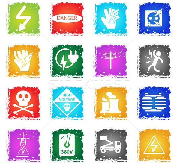 Alta tensão vetor os ícones do web grunge estilo Foto stock © ayaxmr