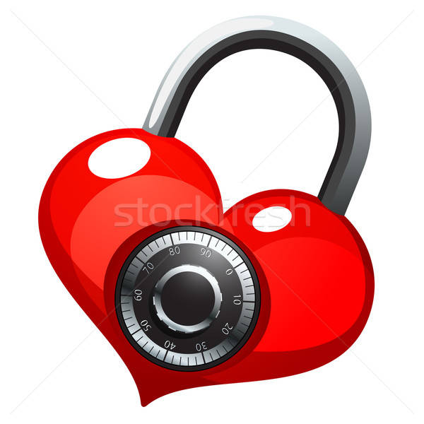 Red heart with shiny metal round combination lock Stock photo © ayaxmr