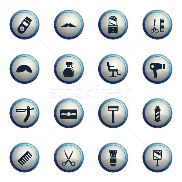 Stock fotó: Ikon · szett · háló · felhasználó · interfész · asztal · szék