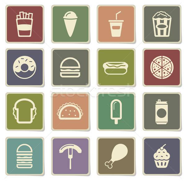 Fast food eenvoudig iconen vector web gebruiker Stockfoto © ayaxmr