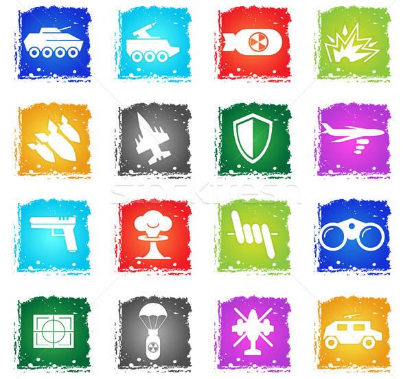 Guerra símbolos vector iconos de la web grunge Foto stock © ayaxmr
