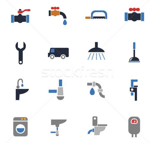 Plomberie Ouvrir la icônes web utilisateur interface Photo stock © ayaxmr