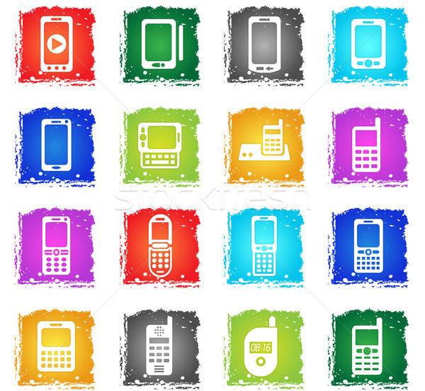 Teléfonos iconos de la web grunge estilo usuario Foto stock © ayaxmr