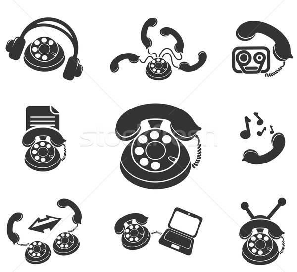 Foto stock: Telefone · ícones · simplesmente · símbolos · teia · usuário