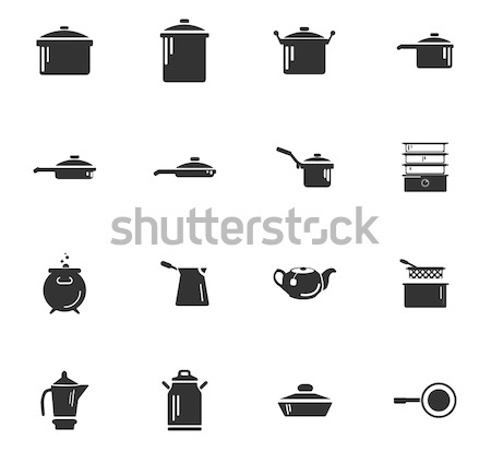 Dishes icons set Stock photo © ayaxmr