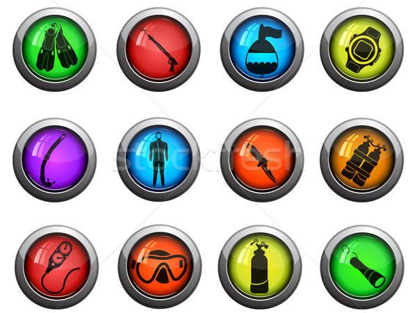 Duiken glanzend iconen website gebruiker Stockfoto © ayaxmr