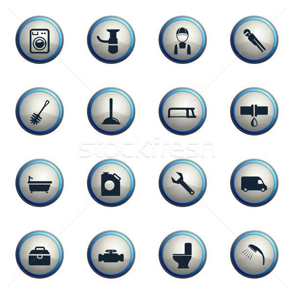 Fontanería servicio simplemente iconos web Foto stock © ayaxmr