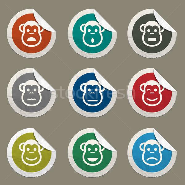 Scimmia emozioni semplicemente icone web Foto d'archivio © ayaxmr