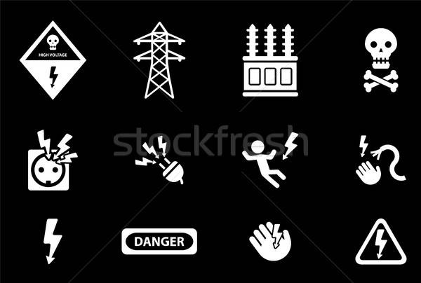 Nagyfeszültség egyszerűen ikonok szimbólum webes ikonok kéz Stock fotó © ayaxmr