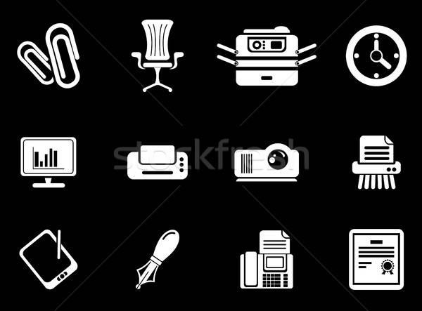 Kantoor eenvoudig iconen symbool web icons gebruiker Stockfoto © ayaxmr