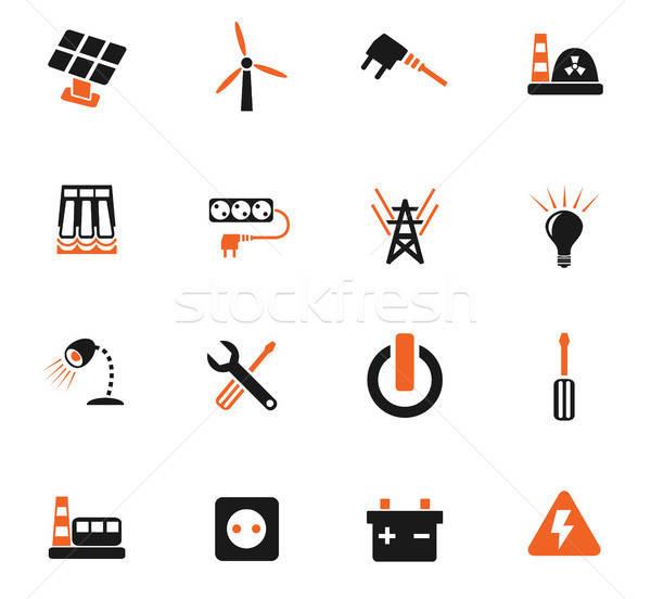 Eletricidade os ícones do web usuário interface projeto Foto stock © ayaxmr