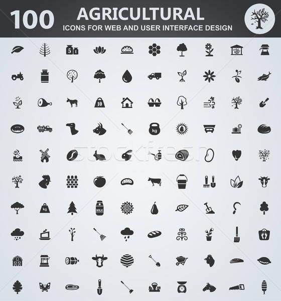 Agriculture icon set Stock photo © ayaxmr
