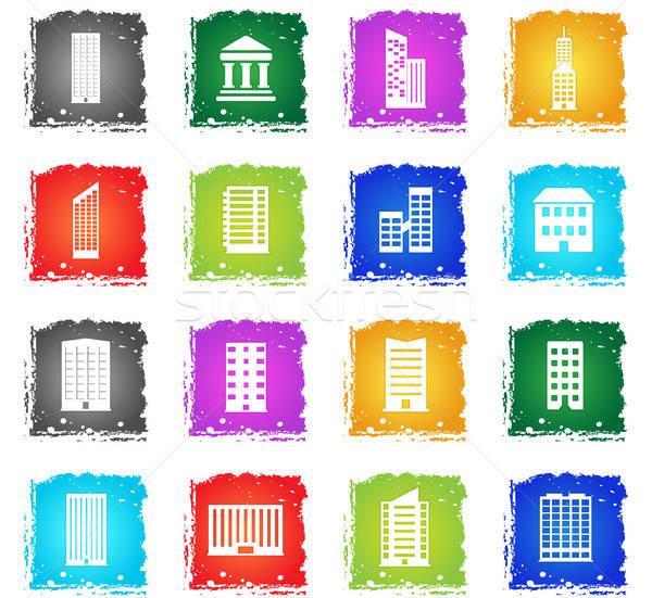 Buildings icons set Stock photo © ayaxmr