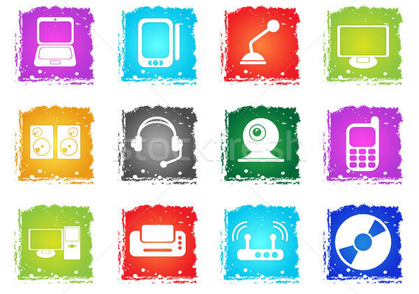 Computer equipment icons Stock photo © ayaxmr