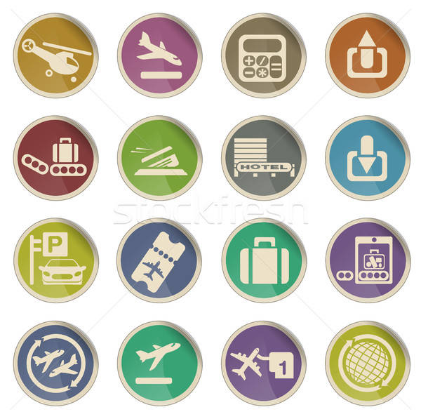 Aéroport icônes étiquette web utilisateur signe Photo stock © ayaxmr