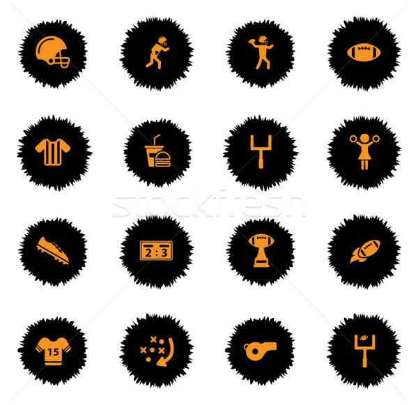 Amerikaanse voetbal eenvoudig iconen vector web Stockfoto © ayaxmr