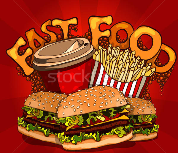 fast food banner with cola, hamburger and fries Stock photo © ayaxmr