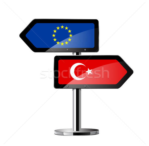 Ue signo senalización de la carretera carretera bandera rojo Foto stock © ayaxmr