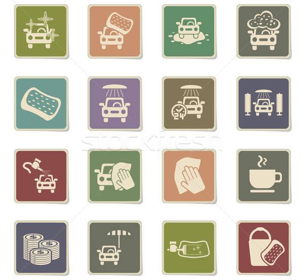 car wash service icon set Stock photo © ayaxmr