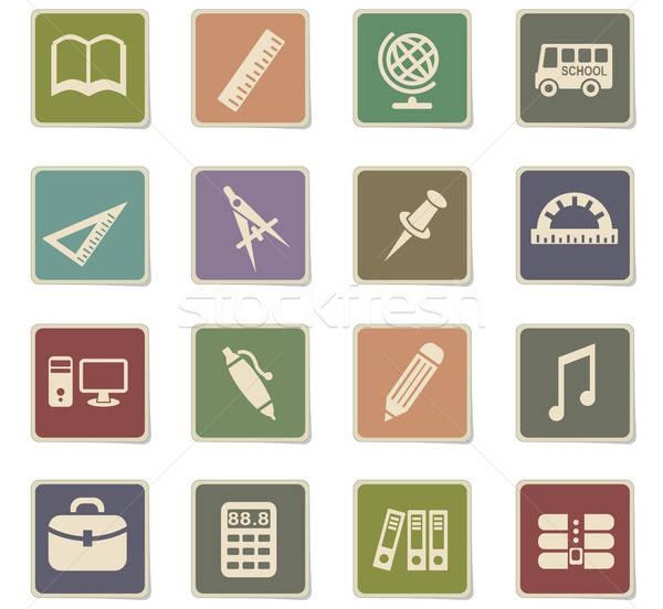 Iskola ikon gyűjtemény webes ikonok felhasználó interfész terv Stock fotó © ayaxmr