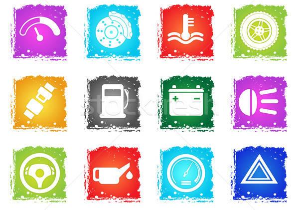 Vektor autó interfész ikon gyűjtemény egyszerűen szimbólum Stock fotó © ayaxmr