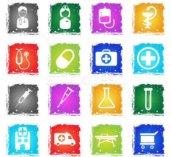 медицинской просто иконки символ Гранж стиль Сток-фото © ayaxmr