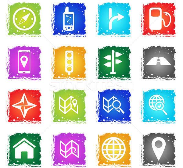 навигация просто иконки символ Гранж стиль Сток-фото © ayaxmr