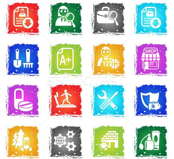 álláskeresés ikon gyűjtemény webes ikonok grunge stílus felhasználó Stock fotó © ayaxmr