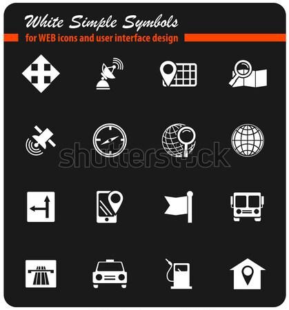 Navigation and transport icons set Stock photo © ayaxmr