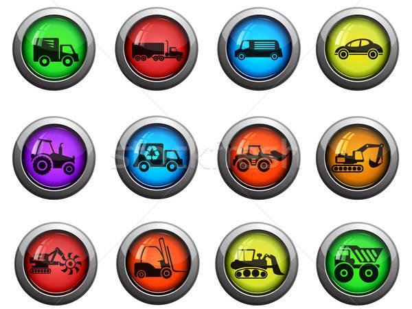 Transportation and Loading Machines icons set Stock photo © ayaxmr