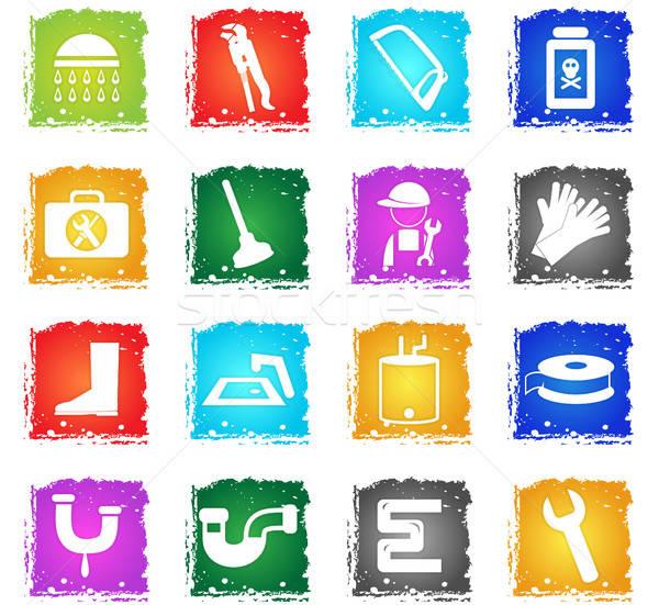 Sanitair dienst vector web icons grunge Stockfoto © ayaxmr