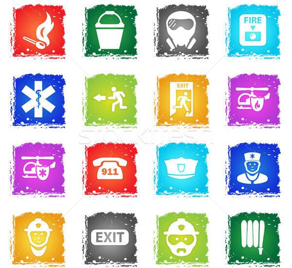 Stock fotó: Vészhelyzet · ikon · gyűjtemény · vektor · webes · ikonok · grunge · stílus